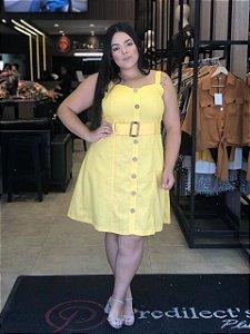 Vestido em Linho Plus Size Amarelo