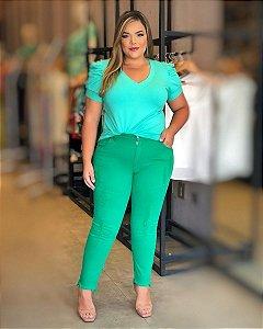 Calça Jeans Plus Size Destroyed Verde