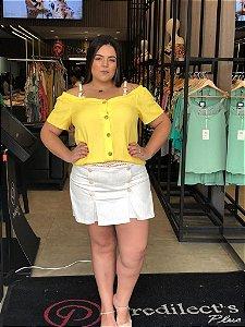Short Saia Linho com Elastano Plus Size Cru