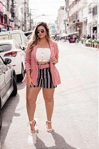 Conjunto Blazer Alongado e shorts Rosa Blush e Marinho
