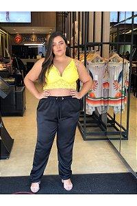 Top Strappy em Renda Plus Size Amarelo