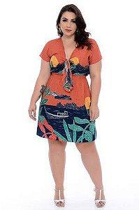 Vestido Estampado Plus Size Alana
