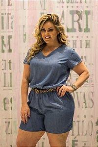 Macaquinho Jeans Confort Plus Size Blubetty