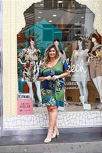 Vestido Plus Size Viscose Amarração Azul