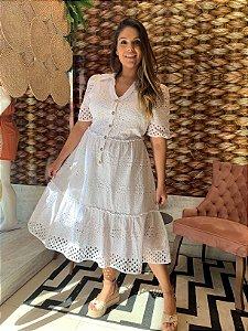 Vestido em Lese Laura Off White