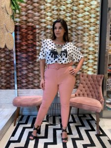 Calça Montaria Bengaline com Cinto Rosa Blush