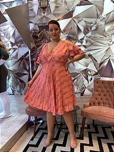 Vestido Plissado Beatrice Rosa Antigo