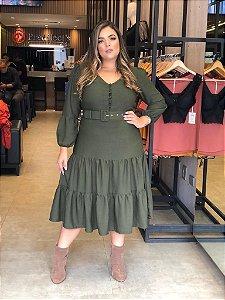 Vestido Plus Size Anastácia Verde Militar