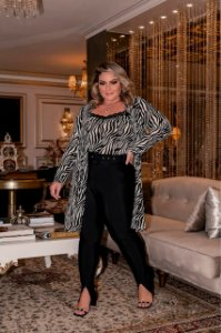 Conjunto Cardigan e Regata Animal Print P&B