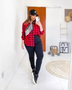 Camisa Xadrez Plus Size Natasha Vermelho