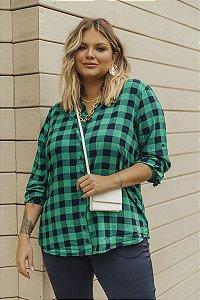 Camisa Xadrez Plus Size Natasha Verde