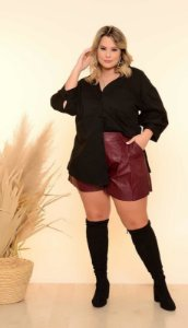 Camisa Plus Size Over Size Black