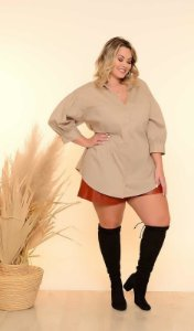 Camisa Plus Size Over Size Nude
