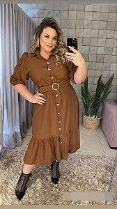 Vestido Plus Size Helena Marrom