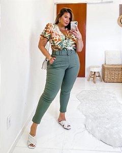 Calça Plus Size Cleia Verde Militar