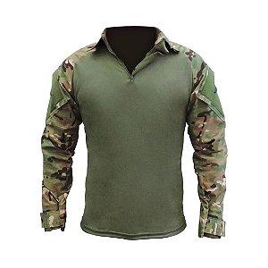 Combat Shirt Raglan Fox Boy Verde Oliva + Multicam