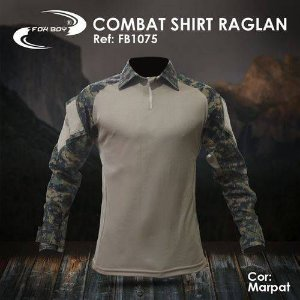 Camisa Tática Militar Combat Shirt Fox Boy Raglan caqui Digital Marpat