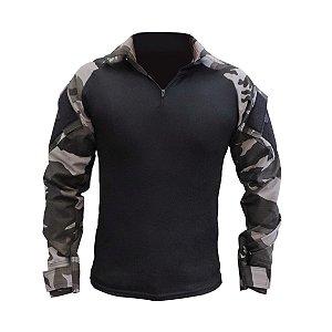 Camisa Tática Militar Combat Shirt Fox Boy Raglan Preta Choque Black