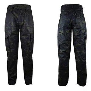 Calça Masculina Militar Camuflada MulticamBlack 6 Bolsos Fox Boy