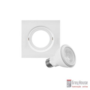 Kit Spot de Embutir Orientável 37,5x120x120mm + Lâmpada Par 20   Grey House