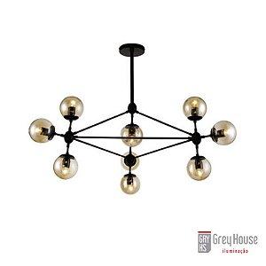 Pendente Industrial Volans Preto com 10 Lâmpadas Mini Bulbo | Grey House