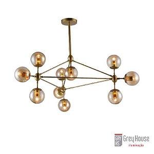 Pendente Industrial Volans Dourado com 10 Lâmpadas Mini Bulbo | Grey House
