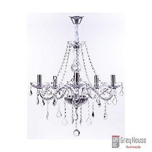 Lustre Maria Thereza Cristal Transparente 5 Braços | Grey House