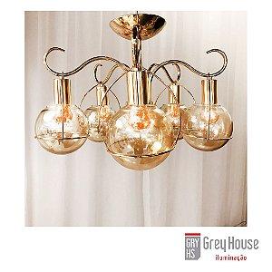 Plafon Clássico Dourado p/ 5x E27 | Grey House