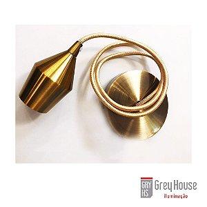 Pendente Dourado Ouro Soquete/Fio p/ 1x E27 | Grey House