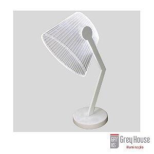 Luminária de Mesa Branca com Led Acoplado | Grey House