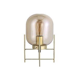 Luminária de Mesa Flint em Vidro Champagne e Metal Dourado 1 x E27 QAB1335CH   Quality