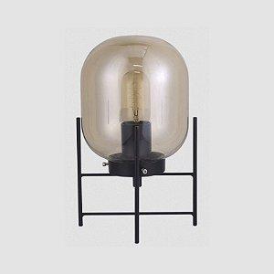 Luminária de Mesa Flint em Vidro Fumê e Metal Preto 1 x E27 QAB1335FM | Quality