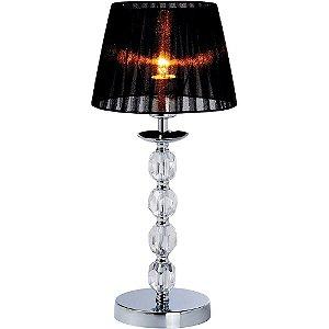 Abajur Vela Cromado Cristal Transparente e Cúpula Preta 49,1XØ22,5 cm AB1203 | Arquitetizze