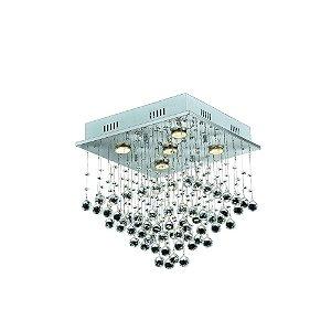 Luminária Plafon Orion em Cristal Transparente 40 x 40 x 47 cm 5 x GU10 PL6004-5.000 | Arquitetizze