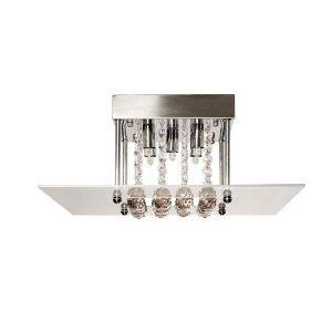 Luminária Plafon Roma em Cristal Champanhe C40 x L40 x A16cm 5 x G9 PL6810-5.000 | Arquitetizze