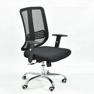 Cadeira Diretor Ergonômica Base Giratória Cromada Tela Mesh Preta Paradise | Design Chair