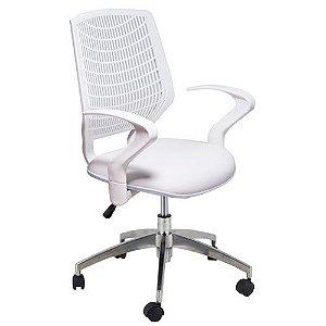 Cadeira Executiva Base Giratória Alumínio Branca Delli | Design Chair