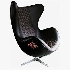 Poltrona Egg Base em Alumínio 4 Pontas Harley Davidson | Design Chair