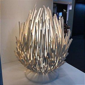 Luminária Escultura em Cerâmica e Vidro Nay 1 x E27   Geo Luz e Cerâmica