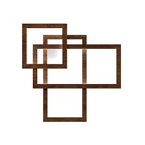 Arandela Plafon Frame Retangular em Madeira 10 x 66 x 66 cm Led Acoplado | Accord