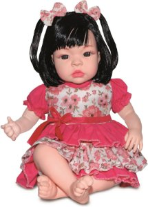 Boneca Realista Baby Kiss Morena 50cm Chora e Balbucia