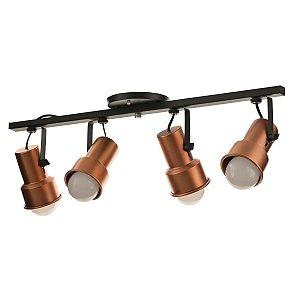 Lustre Spot Trilho Alumínio Cobre Preto 4 Lâmpadas Direcionável E27