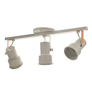 Lustre Spot Trilho Alumínio Branco Cobre Triplo 3 Direcionável E27
