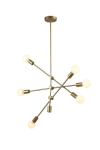Lustre Pendente Moderno Sala Dourado 6 Lamp Ipanema Bella