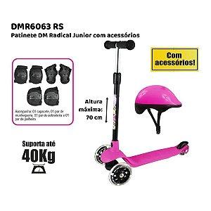 Patinete Infantil Radical Junior DM Toys Rosa + Kit Proteção