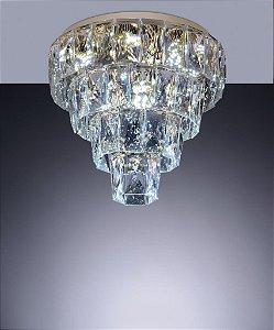 Lustre Plafon Fasano em Cristal 45cm Cristal Dourado
