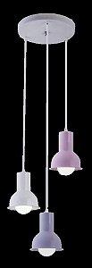 Lustre Pendente Collection Trio Colors Rosa/Lllás/Branco