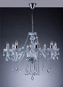 Lustre de Cristal para Sala Transparente 8 Braços