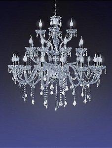 Lustre de Cristal para Sala Transparente 28 Braços