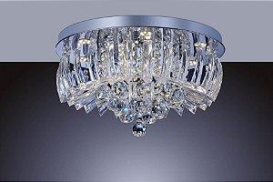 Lustre Plafon Cristal e Acrílico Greta 24w 6500k Redondo 45cm  Luz Branca